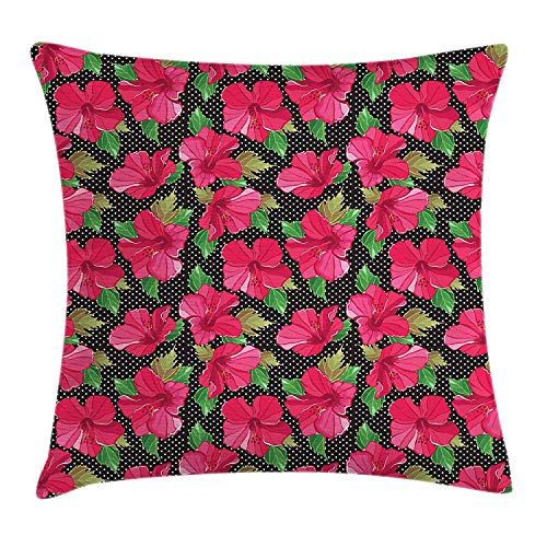 Magenta Standard Cap (Hawaii Throw Pillow Cushion Cover, Polka Dotted Background Hand Drawn Flower Hibiscus Polynesian Flora, Decorative Square Accent Pillow Case, 18 X 18 Inches, Magenta Fern Green Black)