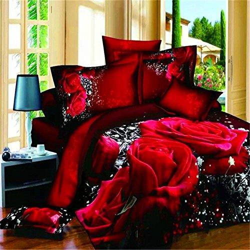 MLSH 3D Rose Bettbezug Set, Bettwäsche Set 100% Baumwolle 4 Stück (1PC Bettbezug, 1PC Bettlaken, 2PC Kissenbezug), Rot, Königin (Tröster Nicht Im Lieferumfang Enthalten)
