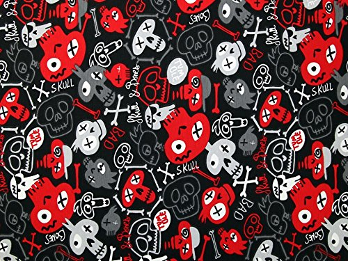 Bedruckter Stretch-Stoff mit Totenkopf-Motiv, Jersey-Stoff, Meterware, Rot