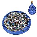 ivencase® Play-Tappeto gioco per bambini, contenitori per giocattoli, Scatola per giocattoli, Contenitore Lego Costruzioni, Bambini Portaoggetti Contenitori, Stuoia di Picnic, diametro:59 Pollice, Blu
