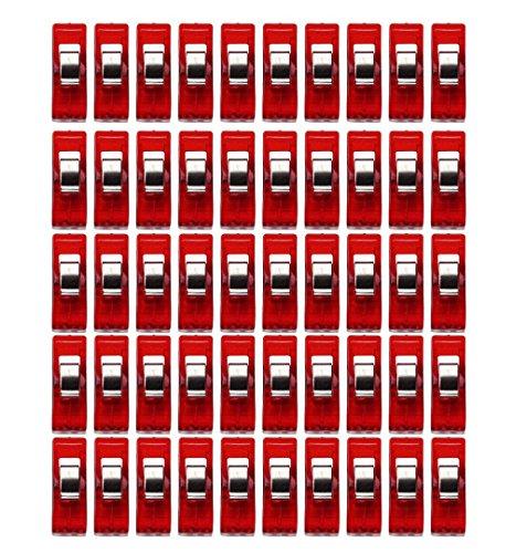 ZEZKT-Home 50pcs Nähhandwerk Quilt Bindung Kunststoff Clips Klemmen Pack Nähen Clips vielseitig sortierte Kunststoff Clips für Nähen Quilten Binding Sewing Craft Quilt Binding Plastic Clips (Rot)
