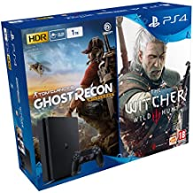 PlayStation 4 Slim (PS4) Consola de 1TB + Ghost Recon Wild Lands + The Witcher 3