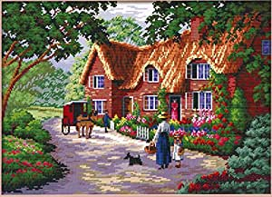 Cross Stitch Kit Thatched Cottage 14 Count 49cm X 38xcm