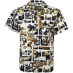 Funky Camisa Hawaiana, Comic, monosepia, 3XL