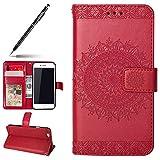 Uposao Hülle Kompatibel mit iPhone 6s Plus 5.5 Handyhülle, Handytasche Flip Case Cover Schutzhülle Brieftasche Ledertasche Wallet Lederhülle Etui Bookstyle Klapphülle Kartenfächer,Rot