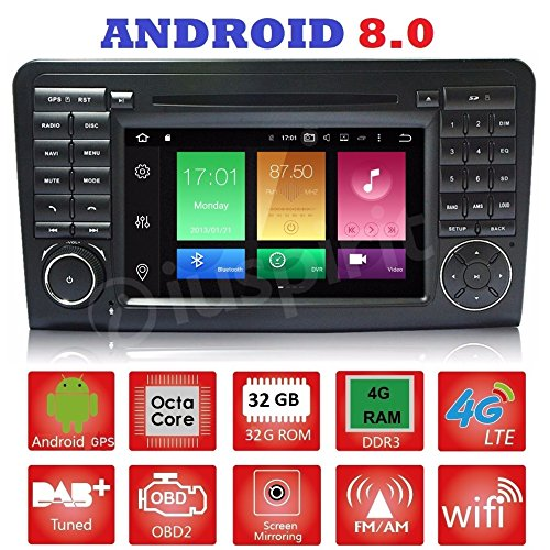 Android 8.0 GPS DVD USB SD Wlan Bluetooth Autoradio 2 Din NAVI Mercedes R-Klasse W251/R280/R300/R320/R350/R500/R63/AMG 2006 - 2012 R300 Gps