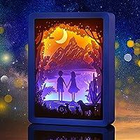 Luz de noche, luz de talla de papel, sombra de luz 3D, pintura de marco de foto decorativa de pareja, decoración de mesa de noche, azul