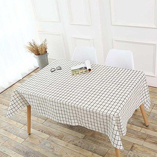 MOIKA Nappe Blanche Style Simple Mariage Restaurant Maison Hôtel Couverture de Table de Pique Nique Traitement Anti Taches Nappe de Table Rectangular(A,A:140 * 180cm)