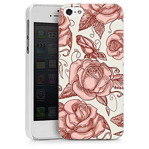 Apple iPhone X Silikon Hülle Case Schutzhülle Rosen Blumen Muster Hard Case weiß