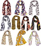 Weavers Villa Set Combo of 10 Scarves Soft PolyCotton Fashion Trendy Women's Scarf, Stoles
