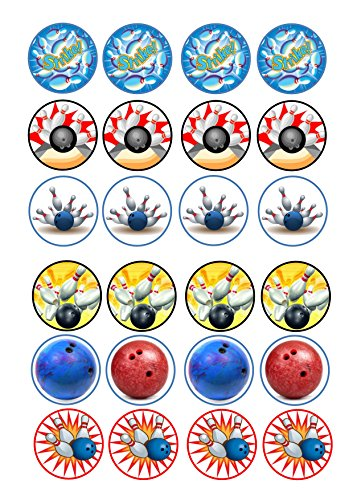 24 Bowling Strike Mix Cartoon Kuchen Topper 4 cm auf Wafer Reispapier
