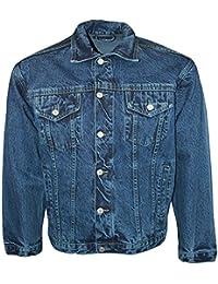 Men's Aztec Jeans Designer Long Sleeve Denim Jacket Buttoned Front Collared Top
