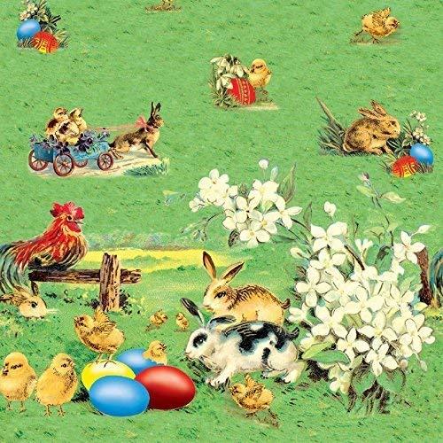 Toile Cirée Nappe Table au Mètre Pâques Oeufs Lapin Taille et Dessin au Choix en Carré Rond Ovale (110 cm Rond, K614-1)