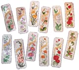 Bucilla 2 1/4 x 7 3/4-inch Flowers of the Month Bookmarks 14 Count Counted Cross Stitch Kit, Set of 12