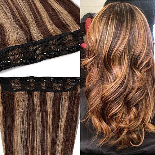 Extension clip capelli veri fascia unica meches larga 25cm - 50cm/50g 100% remy human hair capelli naturali lisci umani con 5 clip #4/#27 marrone cioccolato + biondo scuro