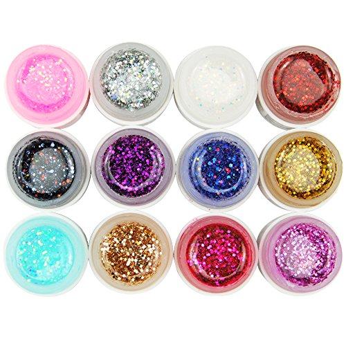 Coscelia 12 Colori di Pezzi Gel UV Nail Art Pigmento Colla Solido Unghie Adesivo