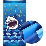 WERNNSAI Teli Mare a Squalo - 76 × 152cm Microfibra Blu Telo da Spiaggia Asciugatura Veloce Anti Sabbia Picnic Nuoto Bagno Co