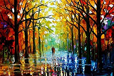 Van Eyck Couple Walking in Tree-lined Paths Colorful Landscape Palette Knife Oil Painting Prints on Canvas Abstract Wall Art Picture for Home Decorations(Inner Framed) - cheap UK light store.