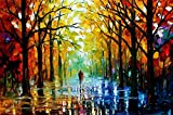 Van Eyck Couple Walking in Tree-lined Paths Colorful Landscape Palette Knife Oil Painting Prints on Canvas Abstract Wall Art Picture for Home Decorations(Inner Framed)