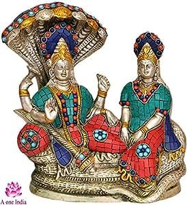 """Aone India Vishnu with Lakshmi ji on Sheshanaga (8.7"""" Height X 9"""" Width)"""