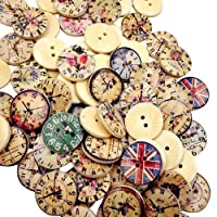 50 Pcs Vintage Wooden Buttons Round 2-Holes Sewing Scrapbooking DIY 20mm qingsb