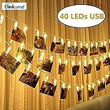 ELINKUME 40 LEDs Foto Clip Lichterkette,Warmweiß Stimmungslichter mit Zwei Modi(Konstant + Blinken ),Stromversorgung über USB, 4,3 Meter/14,1 Füße,Perfekt für hängende Bilder,Notizen,Artwork,Memos