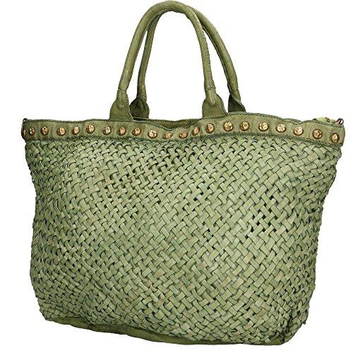 Borsa a Mano da Donna Chicca Borse Vintage in Vera Pelle Intrecciata Made in Italy 48x30x15 Cm Verde