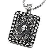 COOLSTEELANDBEYOND Plata Negro Ace Poker Colgante con Cráneo Tarjeta y Zirconio Cúbico Negro, Collar de Hombre Mujer, Acero Inoxidable