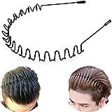 Metal Hair Bands, DELFINO Unisex Wavy Spring Sports Headband, for Men's Hair Band Hoop Clips Women Accessories, Fashion Simpl