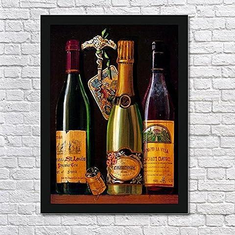 ZQQ Decorativa pintura bodega Bodega océano las uvas barricas Hotel de alcohol del vino, pinturas de fila de tabaco pared marco negro caja dibujo , 4