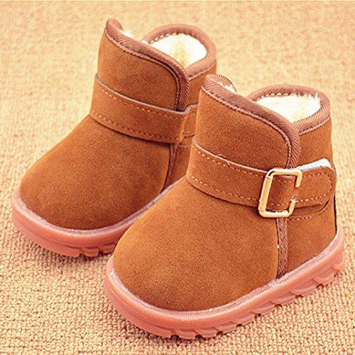 Lauflernschuhe,Amcool Baby Schön Warm halten Doppeldeck Bowknot Plüsch Quasten Weiche Sohle Schneestiefel Weich Krippe Stiefel (UK:6, heißes Rosa) Khaki