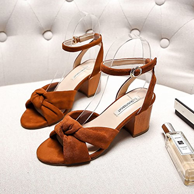 SHOESHAOGE Fashion Sandals Coarse Heel Heel Drain Toe Butterfly Knot Fish Mouth Buckle Belt Sandals Girl Sandalenö
