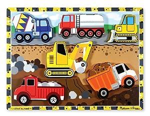 Melissa & Doug- Construction Chunky Juego Puzzle con 6 Piezas, 2-4 Años, Multicolor (13726)