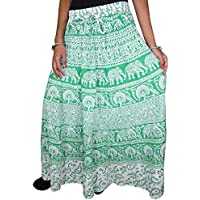 Mogul Interior Women's Maxi Skirt Elephant Tribal Printed Gypsy Hippie Peasant Beach Skirts S/M