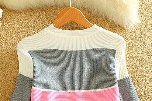 ZEARO Damen PartyKleid Zweiteilige Sätze Striped Strickpullis Pullover Tops Bodycon Midi Meerjungfrau Rock Kleid Grau