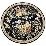 Lqdt-Rundteppich Runde Teppich dicken europäischen Stil Computer Stuhl Drehstuhl Wohnzimmer Schlafzimmer Studie Teppich Maschine waschen Blumenmuster (Farbe : Dunkelblau, größe : Diameter-100CM)