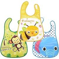 Babygo Plastic Waterproof Baby Apron with Bib (Pack of 3) Random Color