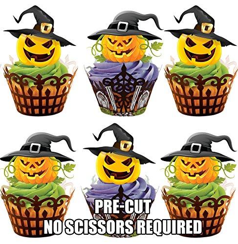 Vorgeschnittene Halloween Kürbisse Mit Hüten - Essbare Cupcake Topper / Kuchendekorationen (12 - Halloween-kürbisse Essbar
