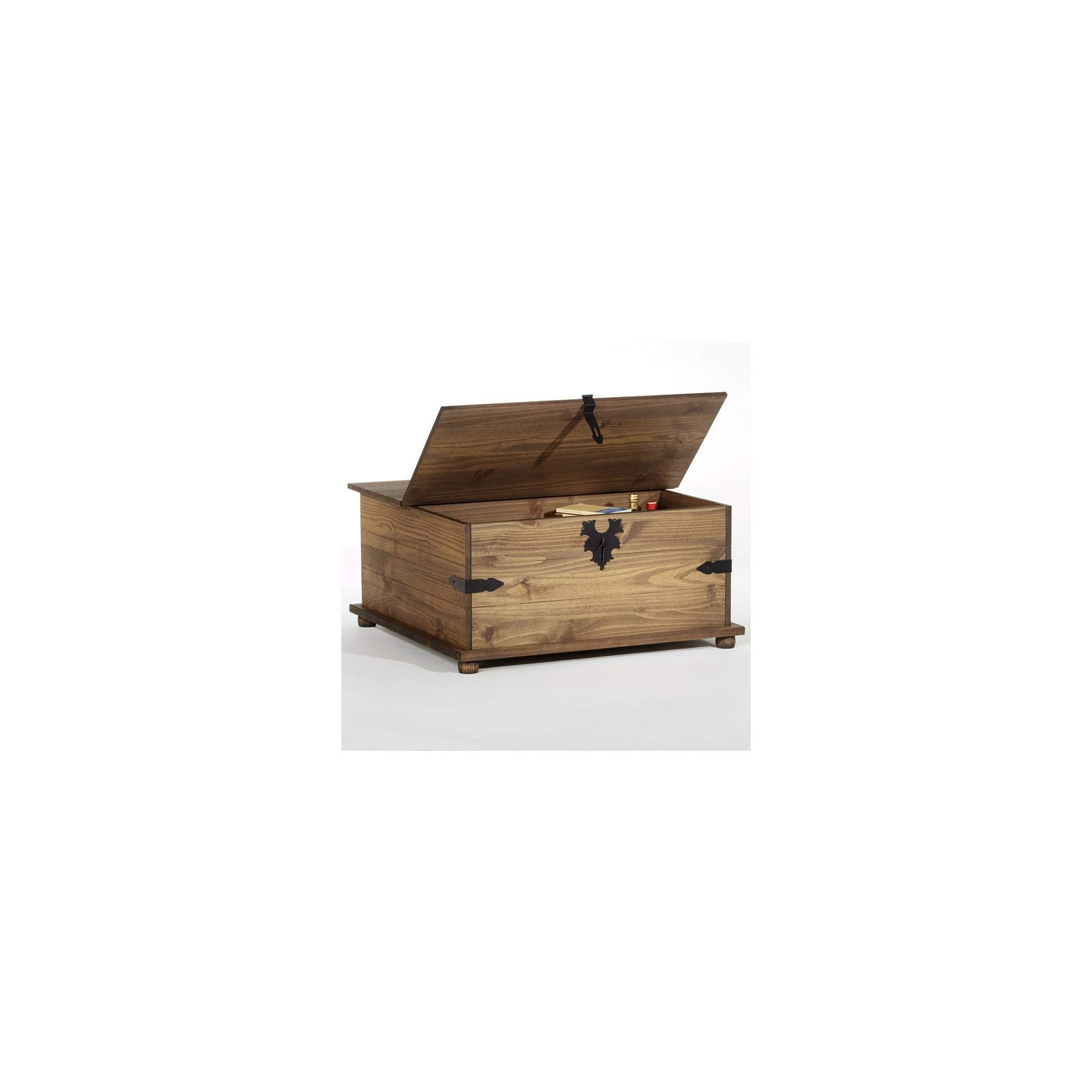 acheter populaire 5a081 db824 IDIMEX Table basse coffre TEQUILA rangement pin massif style mexicain  lasuré brun