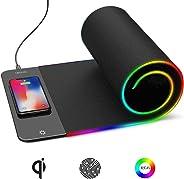 Mauspad, kabellos, 80 x 26 cm, extra groß, RGB, professionelles Gaming, weiches Material, wasserabwaschbares Tuch, bunte LED-Licht, rutschfeste Gummiunterseite, für Gaming-Sensoren optimiert