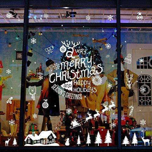 Mddjj Fensterglas Weihnachten Reinweiß Sticker Elk Mall School Company Fensterglas Festival Dress ()
