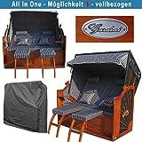 Volllieger Strandkorb XXL anthrazit günstig kaufen # 2 Bezüge ( Grundbezug + abnehm- und waschbarer Wechselbezug ) # inkl. Schutzhülle # 135cm breit - 3