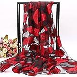 Feder und langer Schal schal Schal weiblichen Multifunktionale dünnen Schal 180 cm * 70 cm Sonnenschutz Sommer, Blätter - Big Red