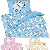 Aminata Kids - Kinder-Bettwäsche 100-x-135 cm Elefant-en-Motiv Tier-e Afrika Safari 100-% Baumwolle hell-Blaue Weiss