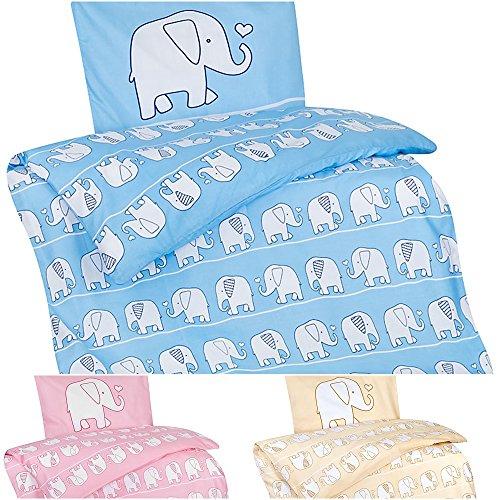 Aminata Kids – Bettwäsche 100x135 cm Kinder Jungen Mädchen Elefanten Baumwolle + Reißverschluss Blau Hellblau Zootiere Elefant Tiermotiv Kinderbettwäsche Babybettwäsche Bettbezug Kinderbettgröße