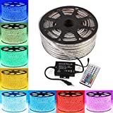 GreenSun 30m LED Lichtband Streifen Strip 60LEDs/m RGB SMD5050 Lichterkette inklusive 1500W 44 Tasten Fernbedienung Empfänger Stromkabel wasserdicht