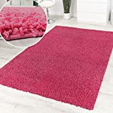 Shaggy Pink Hochflor Langflor Teppich Pink Einfarbig Top Aktion zum Hammer Preis, Grösse:160x220 cm