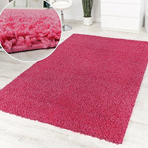 Alfombra Pelo Alto Y Largo Shaggy Rosa Monocolor Promoción A Un Precio Increíble, tamaño:80x150 cm...