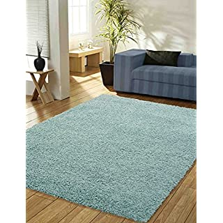 AQS INTERNATIONAL Quality Soft Luxury Plain Shaggy Rug 5cm Thick Soft Touch Pile Plain Duck Egg Blue Shaggy Area Rugs Non Shed Home Bedrooms Living Rooms Bedside (120 x 170cm (4ft x 5ft 6in))