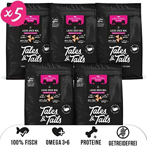 Tales & Tails® - Hunde Leckerlis aus 100% isländischem Lachs| Natürlich, Zuckerfrei, Getreidefrei, reich an Omega 3 | Kausnack Icebarks